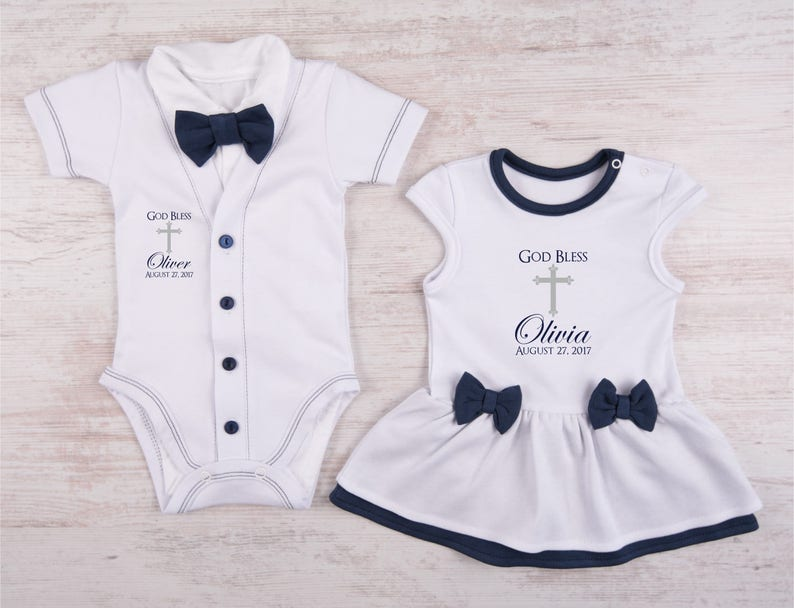 d47c1314 Twin Baptism Outfits Personalized Baby Boy Bow Tie Cardigan | Etsy