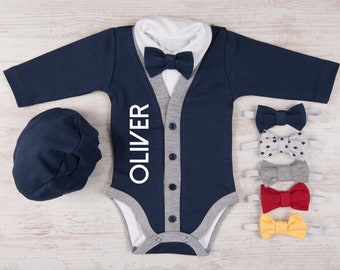 Take Home Outfit Boy, Personalized Baby Boy Outfit, Navy Cardigan, Bodysuit, Hat & Bow Tie Set, Newborn Boy Coming Home Outfit, Photo Prop