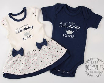 Twin Birthday Outfits, 1st Birthday Twin Outfits, Twin First Birthday Outfits, Personalized Boy and Girl Twin Clothing, 1st Birthday Twins