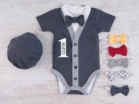 1 Geburtstag Junge Outfit Personalisierte Graphit Grau Etsy