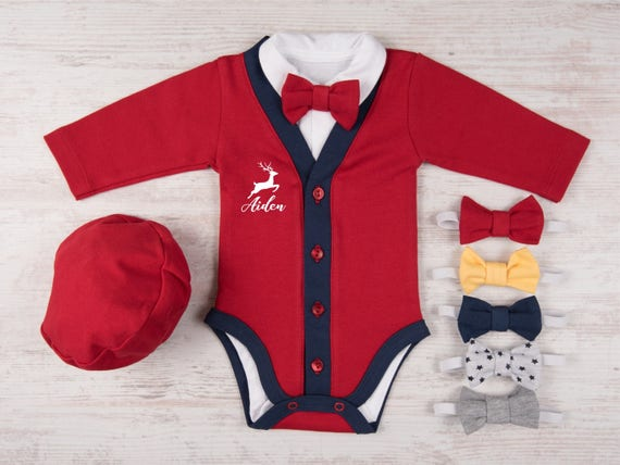 image 0 - First Christmas Outfit Boy Personalized Baby Boy Christmas Etsy