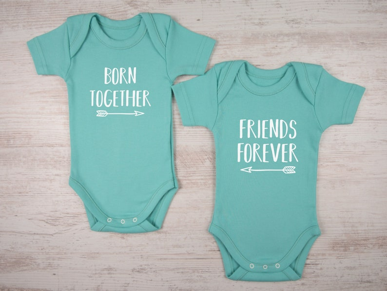 ec08c384295d Twin Baby Gifts Born Together Friends Forever Set of 2 | Etsy