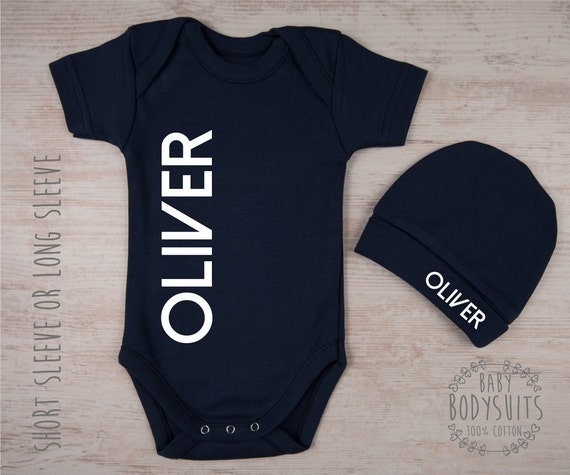 43c498552 Baby Boy Outfit PERSONALIZED Baby Bodysuit   Hat Set Baby