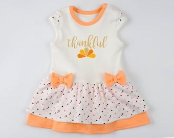 FIRST THANKSGIVING Outfit Girl, THANKFUL Orange/Cream/Polka Dots Bodysuit Dress, 1st Thanksgiving Girl Outfit, Baby Girl Thanksgiving Dress