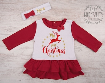 MY FIRST CHRISTMAS Baby Girl Outfit, Christmas Baby Dress, Set of Baby Dress & Personalized Baby Headband, 1st Christmas Baby Girl Clothing