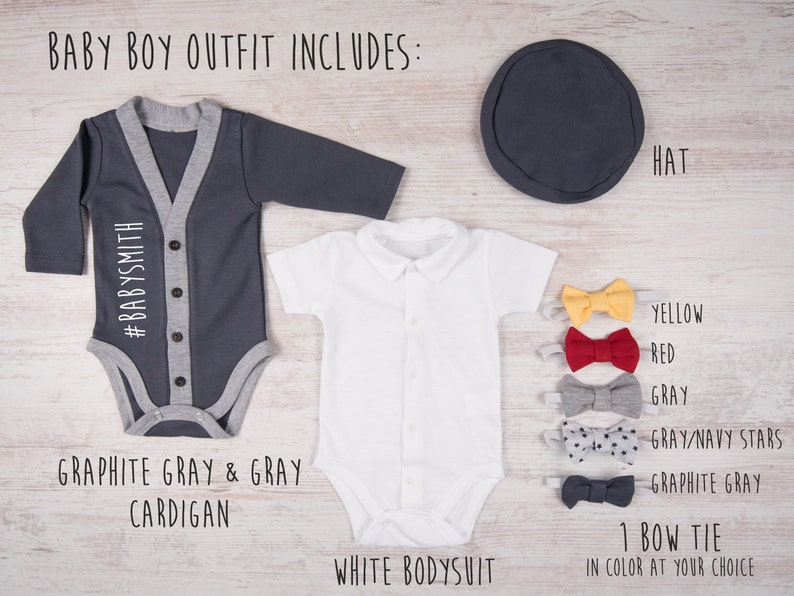 Baby Shower Baby Boy Outfit Hat /& Bow Tie Set Baby Boy Clothes Bodysuit #LAST NAME Personalized Baby Boy Graphite Gray Cardigan Gifts