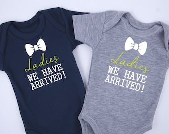 Baby Shower Twin Boys, Ladies We Have Arrived Twin Boy Set of 2 Outfits, Funny Gift For Twin Boys, Newborn to 12-18 m