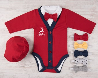 First Christmas Outfit Boy, Personalized Baby Boy Christmas Outfit, Red/Navy Cardigan, Bodysuit, Hat & Bow Tie Set, 1st Christmas Boy Outfit