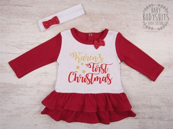 Mon premier Noël Brodé bavoir bébé /& hat set Santa Tenue Cadeau De Noël bébé