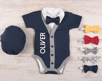 Baby Boy Coming Home Outfit, Personalized Navy Cardigan, Bodysuit, Hat & Bow Tie Set, Baby Boy Clothes, Baby Boy Gift