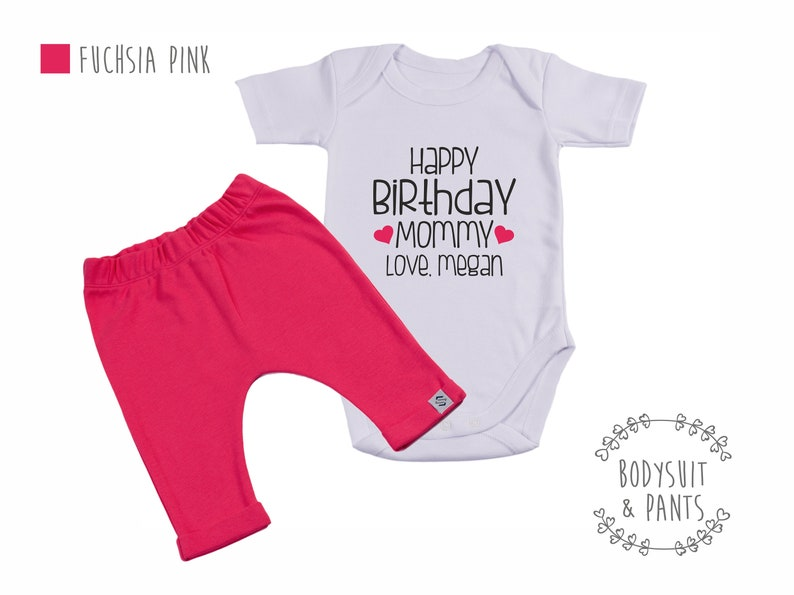 Add on Hat andor Pants Option Happy Birthday Mommy Personalized Bodysuit