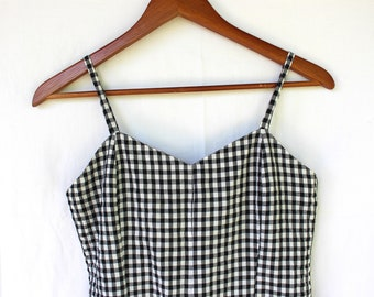 302d59b86af Vintage 90 s romper black and white checkered with spaghetti straps