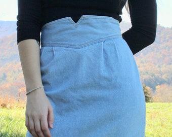 2da1a295e Vintage 80s Zena jean skirt high waisted pleated