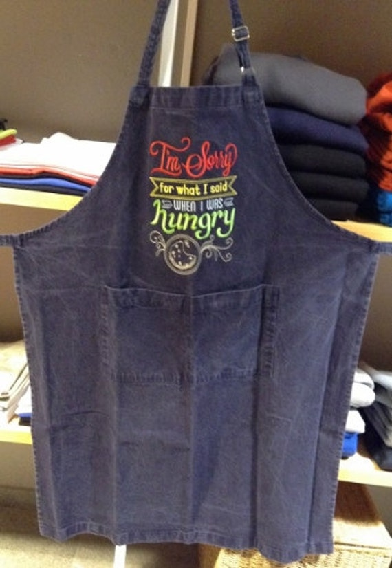 Fall SALE Mens denim apron embroidery, Machine embroidered I'm Sorry for What I Said on long apron with pockets