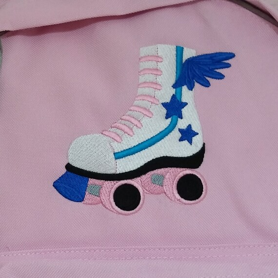Girls Roller Skate And Name Or On Backpack For Kids Personalized Machine Embroidery Ideal For Sports School Dance Lessons
