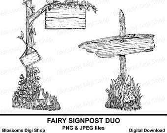 Fairy signpost digital download fairy digi stamp hand