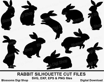 Rabbit Silhouette Svg Cut Files Bunny Eps Vector Easter Stencil Die Laser Dxf