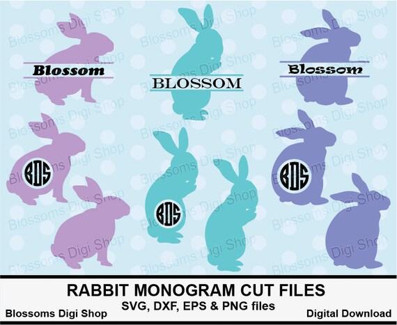 rabbit monogram svg cut files rabbit svg split monogram etsy