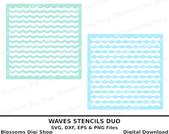 Waves stencil cut files, digital download, wave svg, nautical svg, eps vector file, wave background, ocean svg, repeat pattern, wave clipart