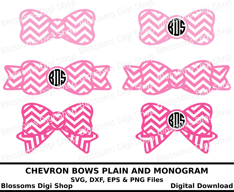 Chevron bow svg monogram svg chevron cut file monogram bow | Etsy