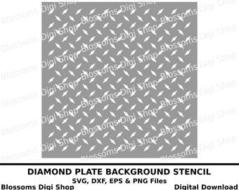 Diamond plate background stencil, digital download, diamond pattern svg, pattern stencil, dxf cut file, eps file, cameo svg, commercial svg