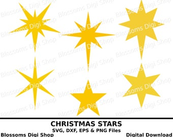 Christmas stars svg, star download, pointed star, star template, star cut file, star clipart, star stencil, cricut svg, silhouette cameo svg