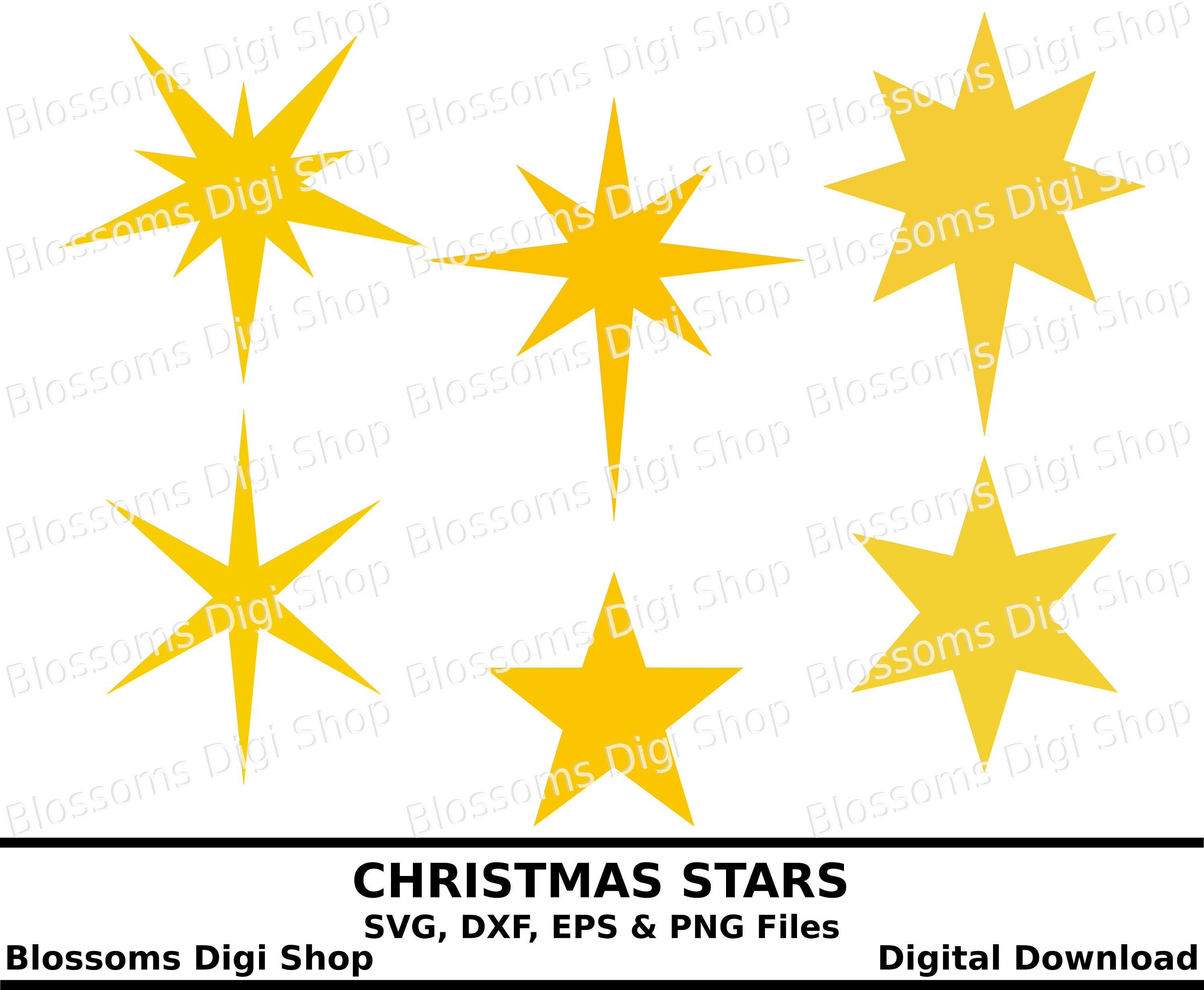 Christmas Stars Svg Star Download Pointed Star Star Etsy