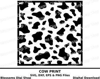 Cow print svg, digital download, animal print template, eps vector file,  cameo stencil, cow svg, design space svg , cricut svg, cow dxf