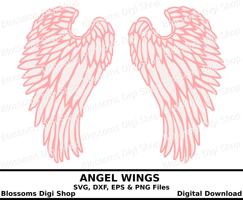 angel wings svg cut file digital download svg wing etsy