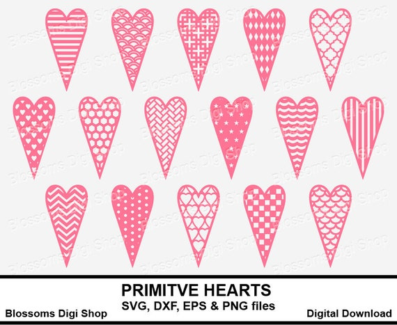 Primitive hearts bundle svg pattern template polka dots | Etsy