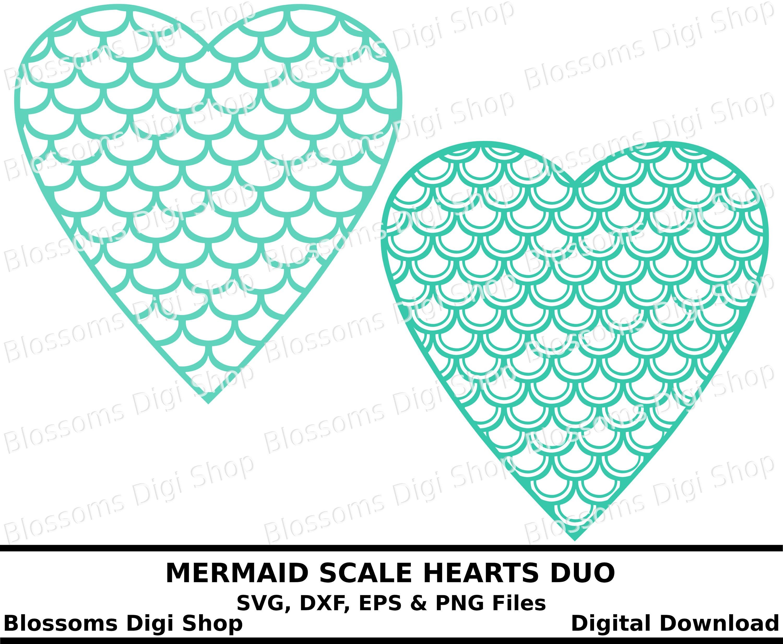 Meerjungfrau-Skala-Herzen digitaler Download Svg Valentine