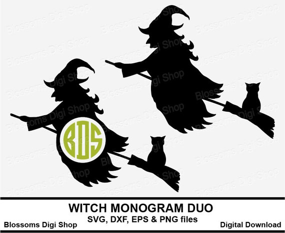 Witch Monogram Duo Cut Files Digital Download Halloween Svg Etsy