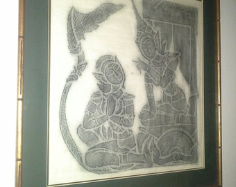 "Thailand - Hand Crafted Framed Silk Batik , 17"" X 18"""