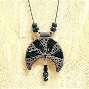 Dark green Glaze and Dangles Dark Clay Ceramic Necklace Half Moon Design With Circles