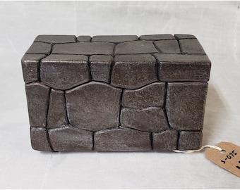Stoneware Keepsake or Stash Box 4x6x4