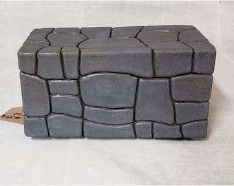 Ceramic Rock-Look Keepsake or Stash Box
