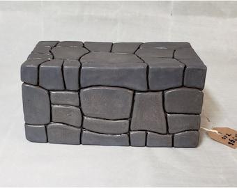 Ceramic Keepsake or stash box 4x8x4