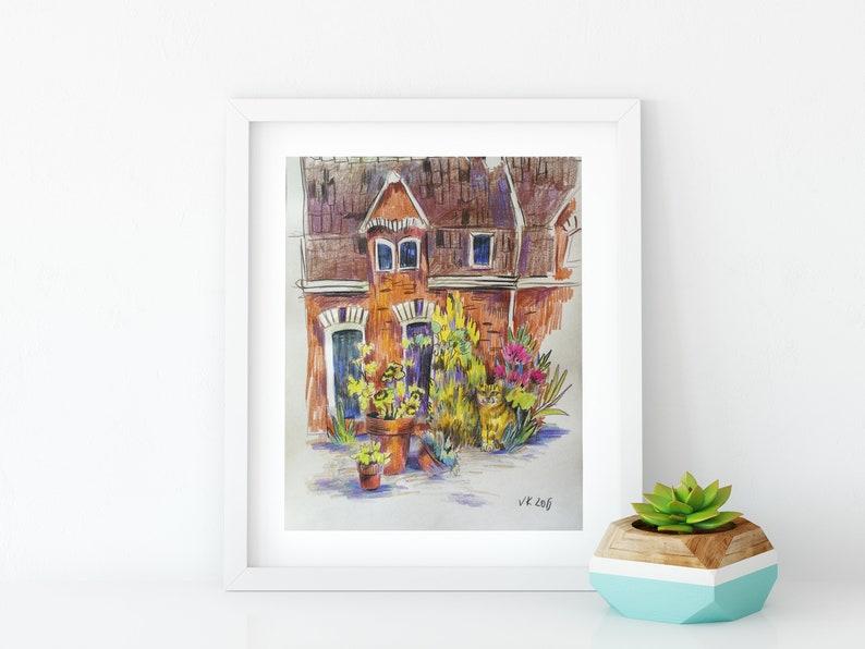 House illustration Original art Pencil drawing Landscape art image 0