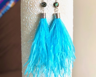 """Feather Shoulder Duster Chains Teal /& Black Dark Silver feathered Earrings 9/"""""""