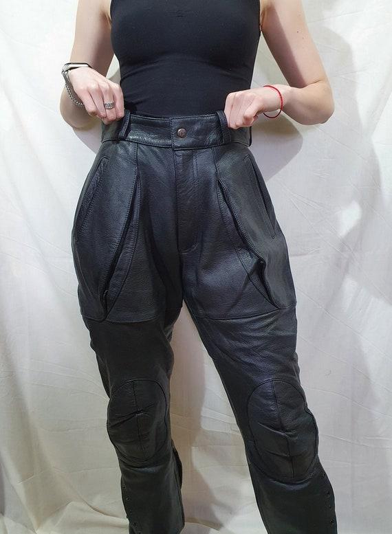 Men's leather pants. Leather pants for bikers. Bla