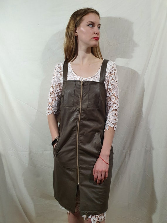 Cute women leather dress. Brown leather dress wome