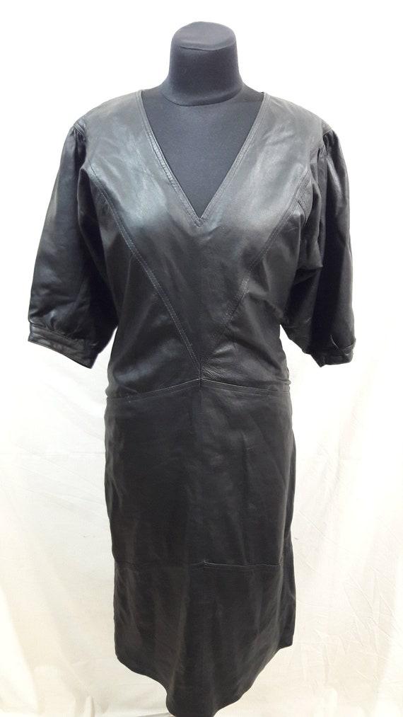 Noble women's leather long dress. Black women's dr