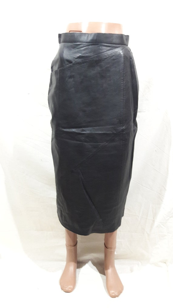 Long black leather skirt. Black leather skirt with