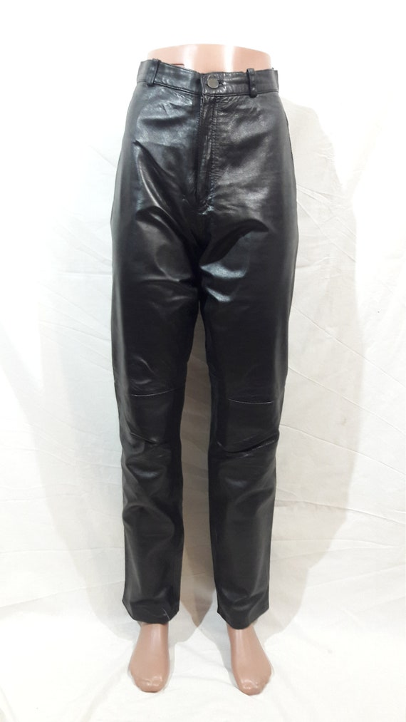 Men's leather black pants for rockers
