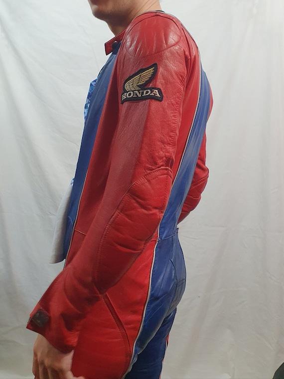 Legendary men's leather jumpsuit. Red-blue jumpsui