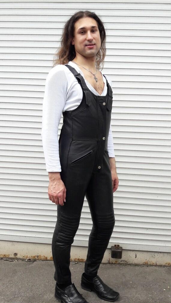 Unisex black leather jumpsuit. Biker black overall