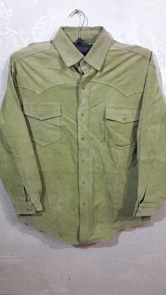 Men's leather button-down shirt. Light green suede