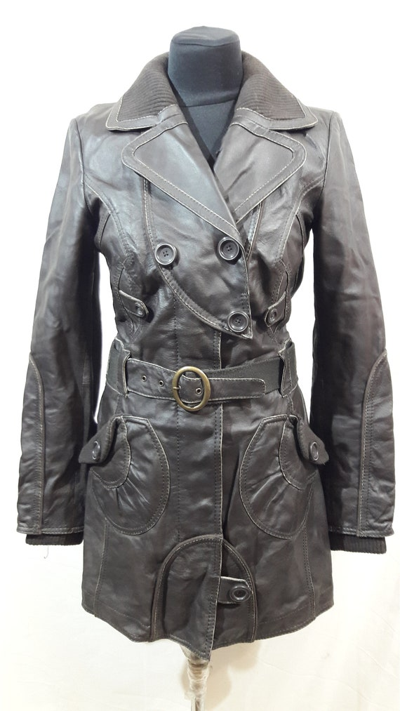 Women's leather raincoat. Brown leather raincoat w