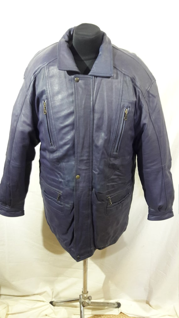 Men's leather jacket. Purple leather men's jacket.