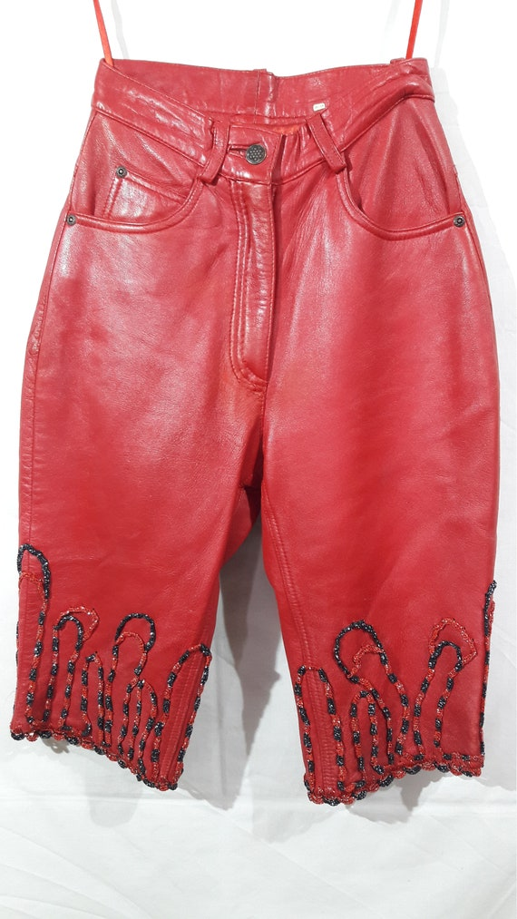 Wonderful women's leather shorts. Red women's shor